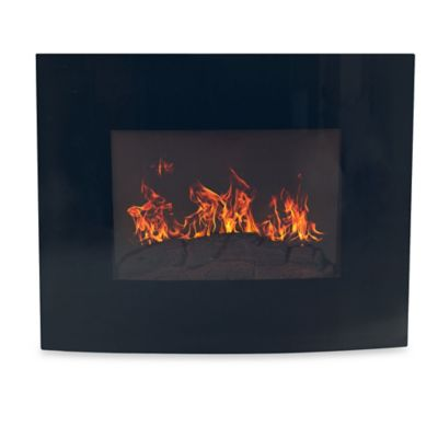 Northwest Curved Glass Electric Fireplace Heater in Black
