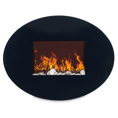 Northwest Oval Glass Electric Fireplace Heater in Black