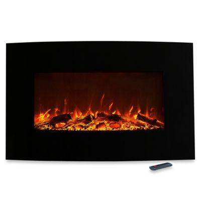 Northwest Curved Color-Changing Electric Fireplace Heater in Black