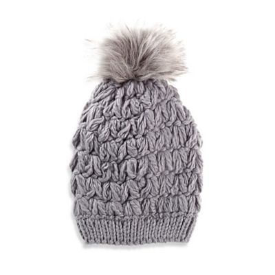 Crochet Faux Fur Pom Hat in Grey