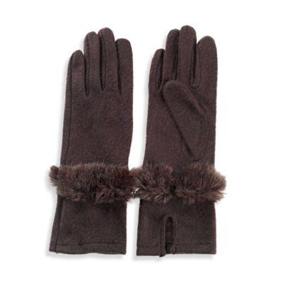 Faux Fur Bracelet Glove in Brown