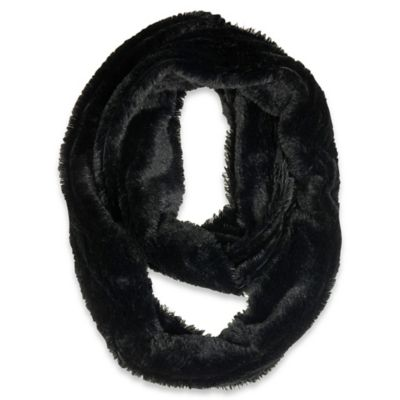 Double Layer Tipped Soft Faux Fur Loop Muffler in Grey/Black