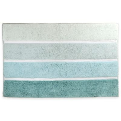 Blue Striped Bath Rug