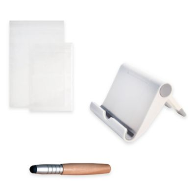 Tablet and Smartphone Kitchen Kit with Foldable Stand, Protective Sleeves and Stylus
