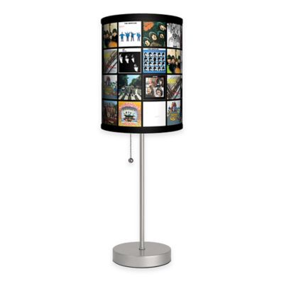 Beatles Albums Covers Table Lamp with Matte Silver Base