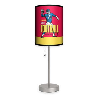 Topps™ Pro Football Bubble Gum Wrapper Table Lamp in Silver with Fabric Shade and CFL Bulb
