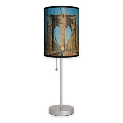 Brooklyn Bridge Color Table Lamp with Matte Silver Base and CFL Bulb