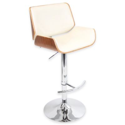 LumiSource Santi Barstool in Cream/Walnut