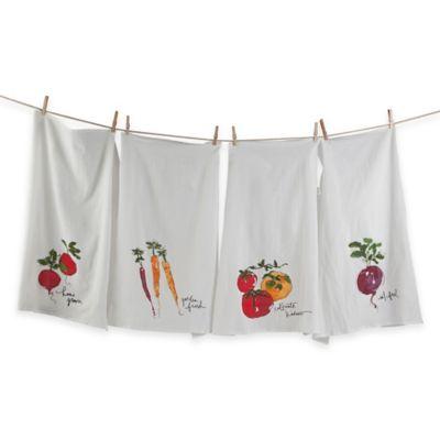 Veggie Market Oversized Flour Sack Kitchen Towels (Set of 4)