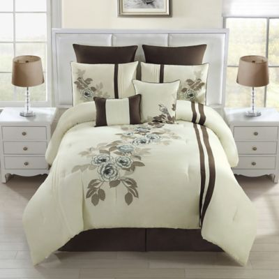 Allegra 8-Piece King Comforter Set in Chocolate/Ivory