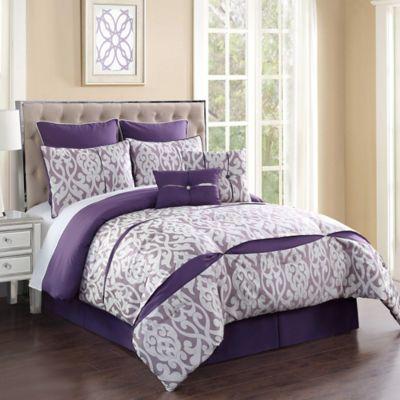 Rianna 8-Piece Queen Comforter Set in Ivory/Purple