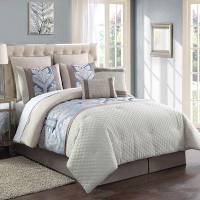 Maribelle 8-Piece Jacquard Queen Comforter Set in Ivory/Khaki
