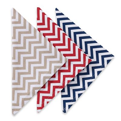 Printed Chevron Dinner Napkins in Red (Set of 4)