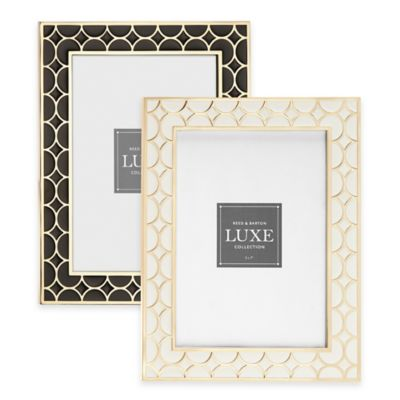 Reed & Barton Luxe Collection 5-Inch x 7-Inch Circles Picture Frame in White/Gold
