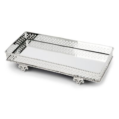Classic Touch Relic Mirrored Tray in Silver
