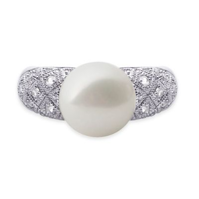 Sterling Silver White Topaz and Freshwater Cultured Pearl Size 5 Cocktail Ring
