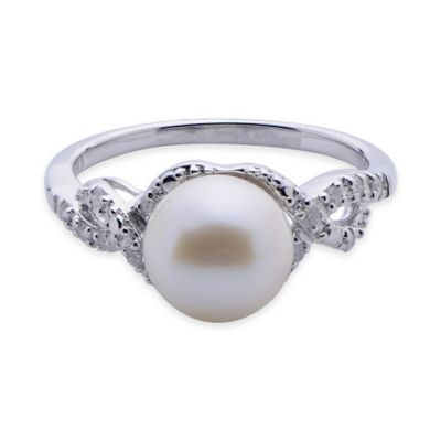 Sterling Silver Freshwater Cultured Pearl .12 cttw Diamond Size 6 Ladies' Twisted Design Ring