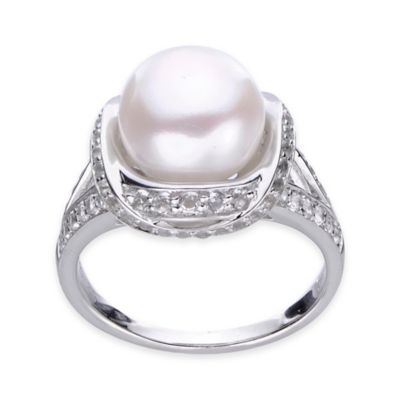 Sterling Silver Freshwater Cultured Pearl and White Topaz Size 6 Ladies' Cocktail Ring