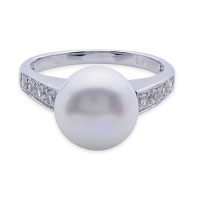 Sterling Silver Freshwater Cultured Pearl and White Topaz Size 8 Cocktail Ring