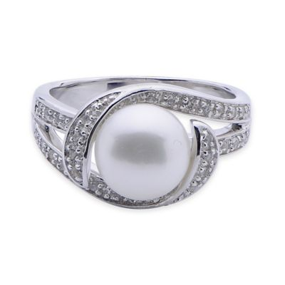 Sterling Silver Freshwater Cultured Pearl and White Topaz Size 6 Ring
