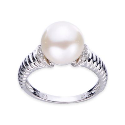 Sterling Silver Round Freshwater Cultured Pearl and.016 cttw Diamond Size 8 Ladies' Ring