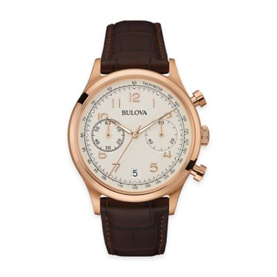 Bulova Men's Chronograph Watch in Goldtone Stainless Steel with Black Leather Strap