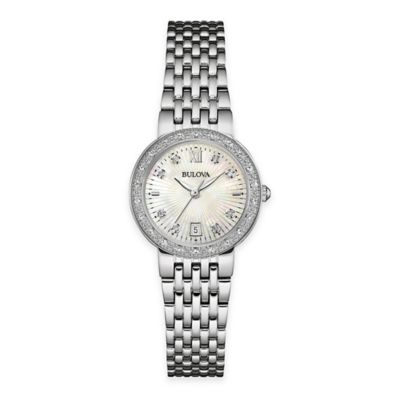 Bulova Ladies' 26mm Diamond Bezel Bracelet Watch in Stainless Steel