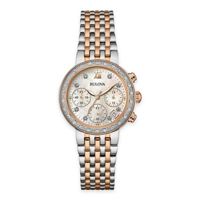 Bulova Ladies' Chronograph Diamond and Mother of Pearl Dial Watch in Two-Tone Stainless Steel