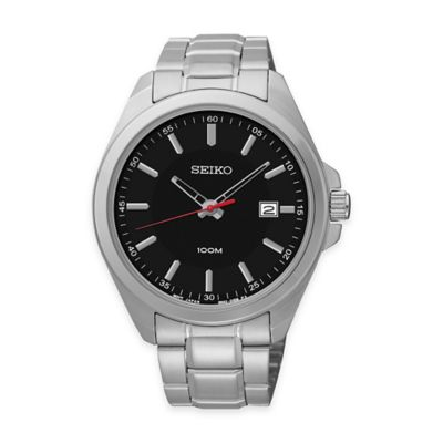 Seiko Men's 42mm Sport Watch in Stainless Steel with Black Dial and Calendar Date Display