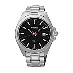 image of Seiko Men's 42mm Sport Watch in Stainless Steel with Black Dial and Calendar Date Display