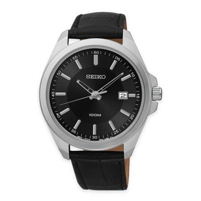 Seiko Men's 42mm Sport Watch in Stainless Steel with Black Dial and Black Leather Strap