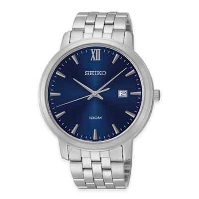 Seiko Men's 45mm Sport Watch in Stainless Steel with Blue Dial and Calendar Date Display