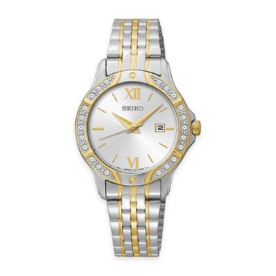 Seiko Ladies' Swarovski® Crystal Watch in Two-Tone Stainless Steel with Silvertone Dial