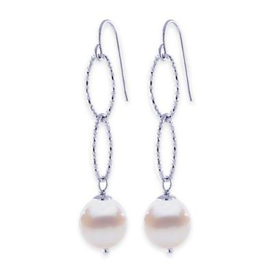 Sterling Silver Freshwater Cultured Pearl Double Oval Drop Earrings