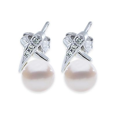 14K White Gold Freshwater Cultured Pearl and .09 Diamond XO Post Earrings