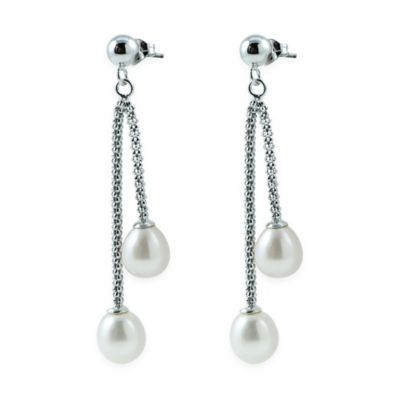 Sterling Silver Freshwater Cultured Pearl Linear Dangle Post Earrings