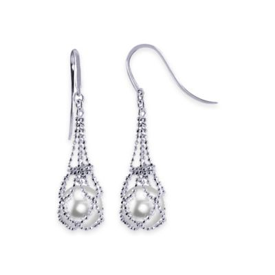 Sterling Silver Freshwater Cultured Pearl Luxurious Lace Drop Earrings
