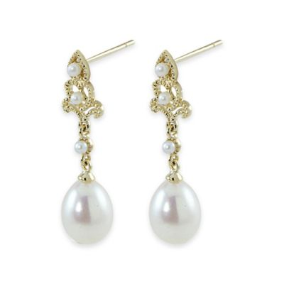 14K Yellow Gold Freshwater Cultured Pearl Antique Setting Dangle Drop Earrings