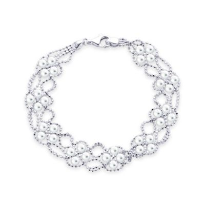 Sterling Silver Freshwater Cultured Pearl 7.5-Inch Lace Bracelet