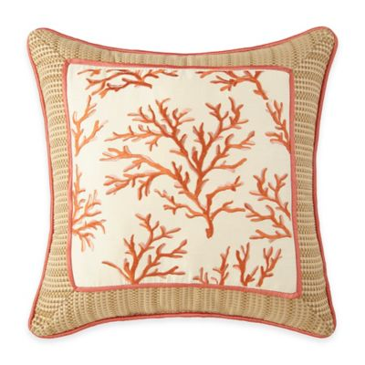 Coral Beach Coral Square Throw Pillow