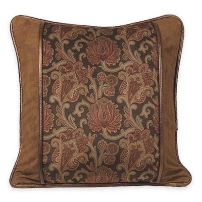 Faux-Leather Square Throw Pillow Throw Pillows