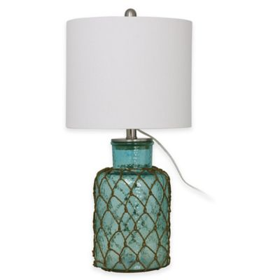Table Lamp in Tropical Blue with Linen Shade and CFL Bulb