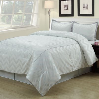 Cadence Full Comforter Set in White/Gold