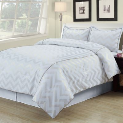 Cadence Twin XL Comforter Set in White/Gold