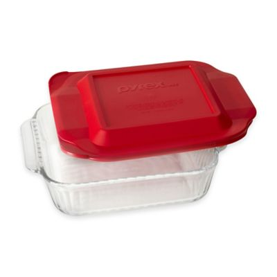 Pyrex® Glass 2 qt. Sculpted Baker with Red Lid