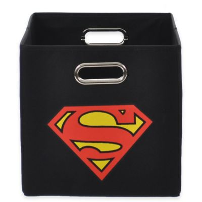 Modern Littles Superman Folding Storage Bin in Black