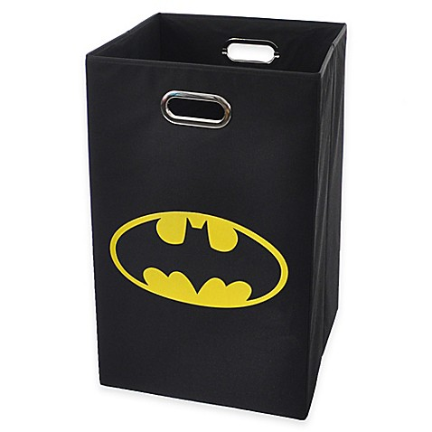 Buy modern littles batman folding laundry bin in black from bed bath beyond - Superhero laundry hamper ...