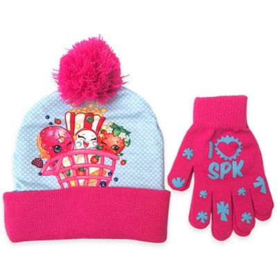 Shopkins Acrylic Hat and Glove Set in Pink/Blue