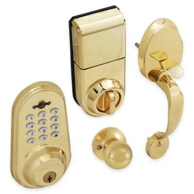 Honeywell Digital Door Knob Handleset Lock with Remote in Polished Brass