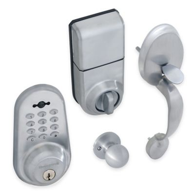 Honeywell Digital Door Knob Handleset Lock with Remote in Satin Chrome